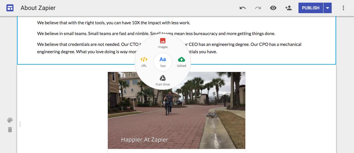 Google Sites' hidden menu