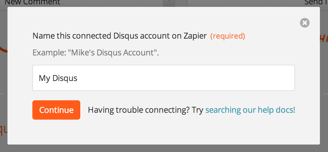Name your connected Disqus account and enter an email and password