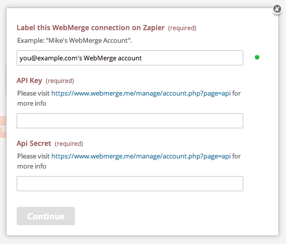 Give your WebMerge account a title