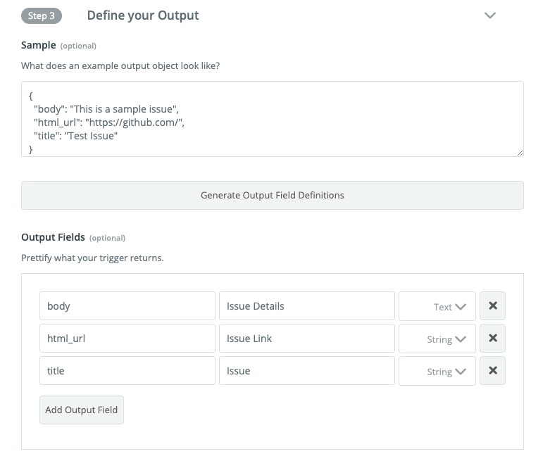 Zapier visual builder output fields