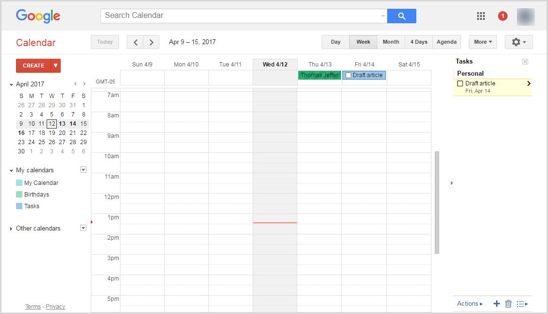 Google Tasks in Google Calendar