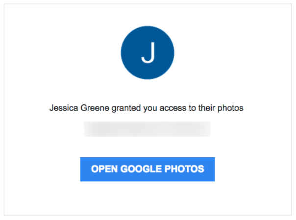 Google Photos invitation email