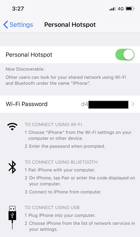 Personal Hotspot iOS