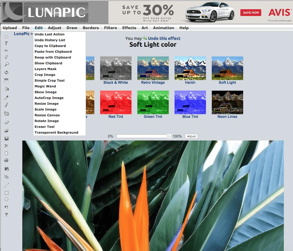 LunaPic photo editor screenshot