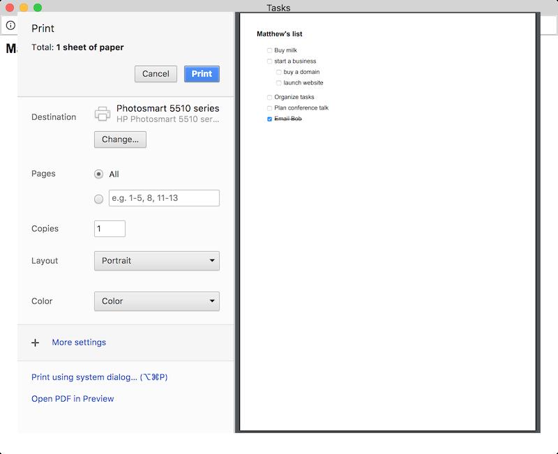 print Google Tasks