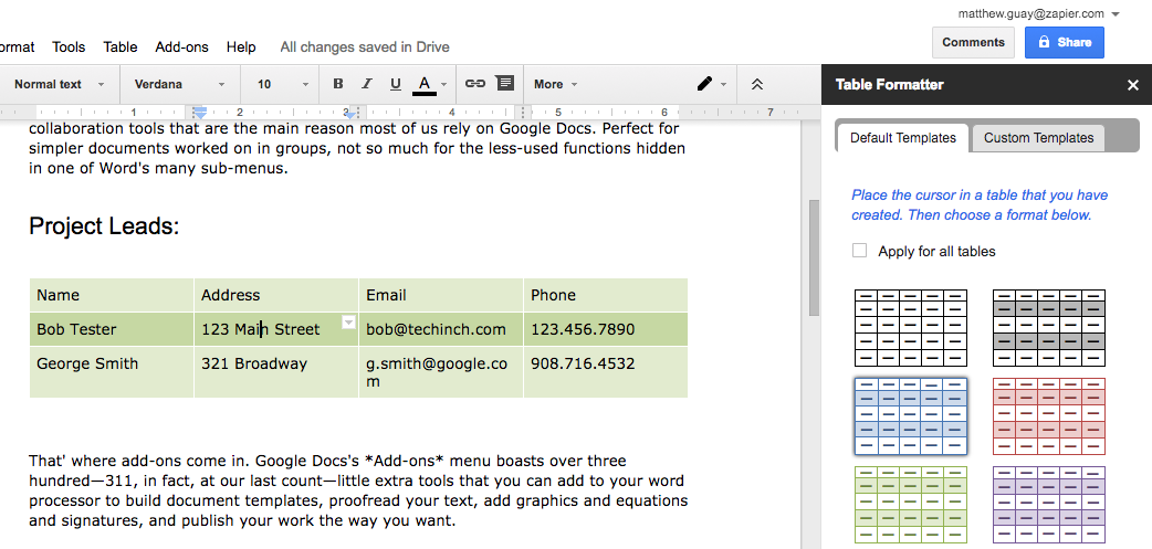 Table Formatter Google Docs