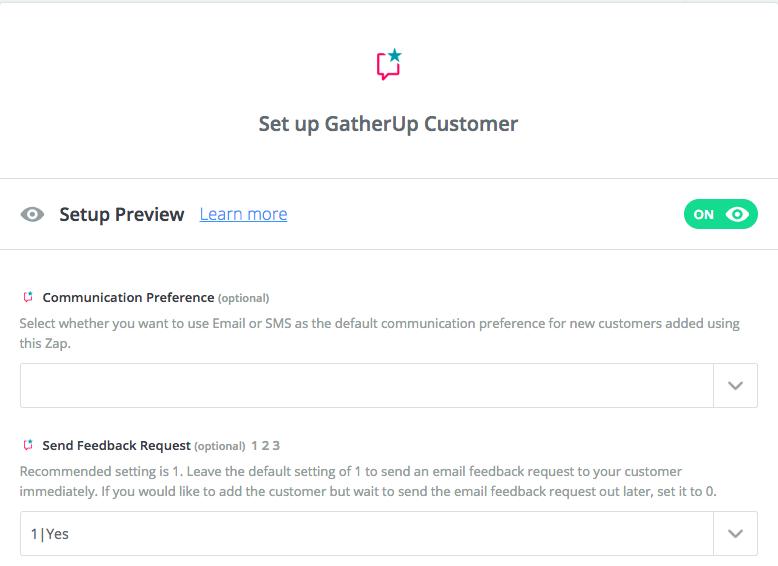 GatherUp zap setup