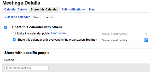 Google Calendar Sharing settings