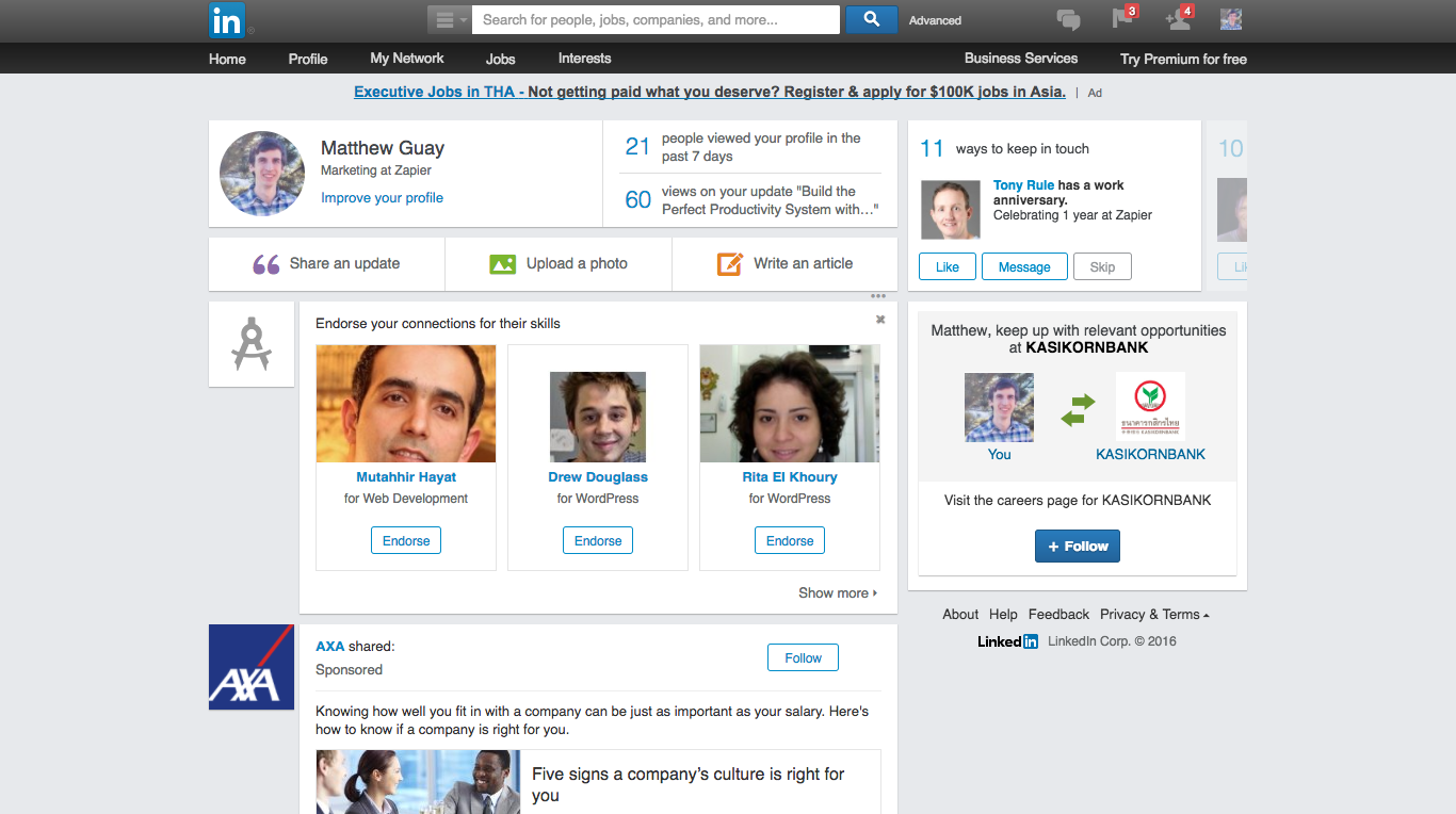 LinkedIn Screenshot Examples & Demo Videos | Zapier