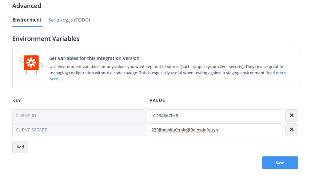 Edit Zapier Environment Variables