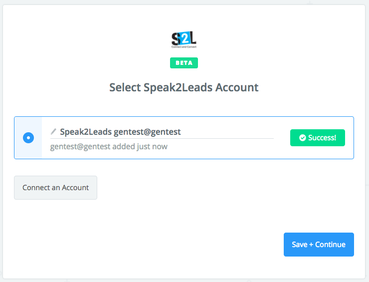 Speak2Leads connection successful