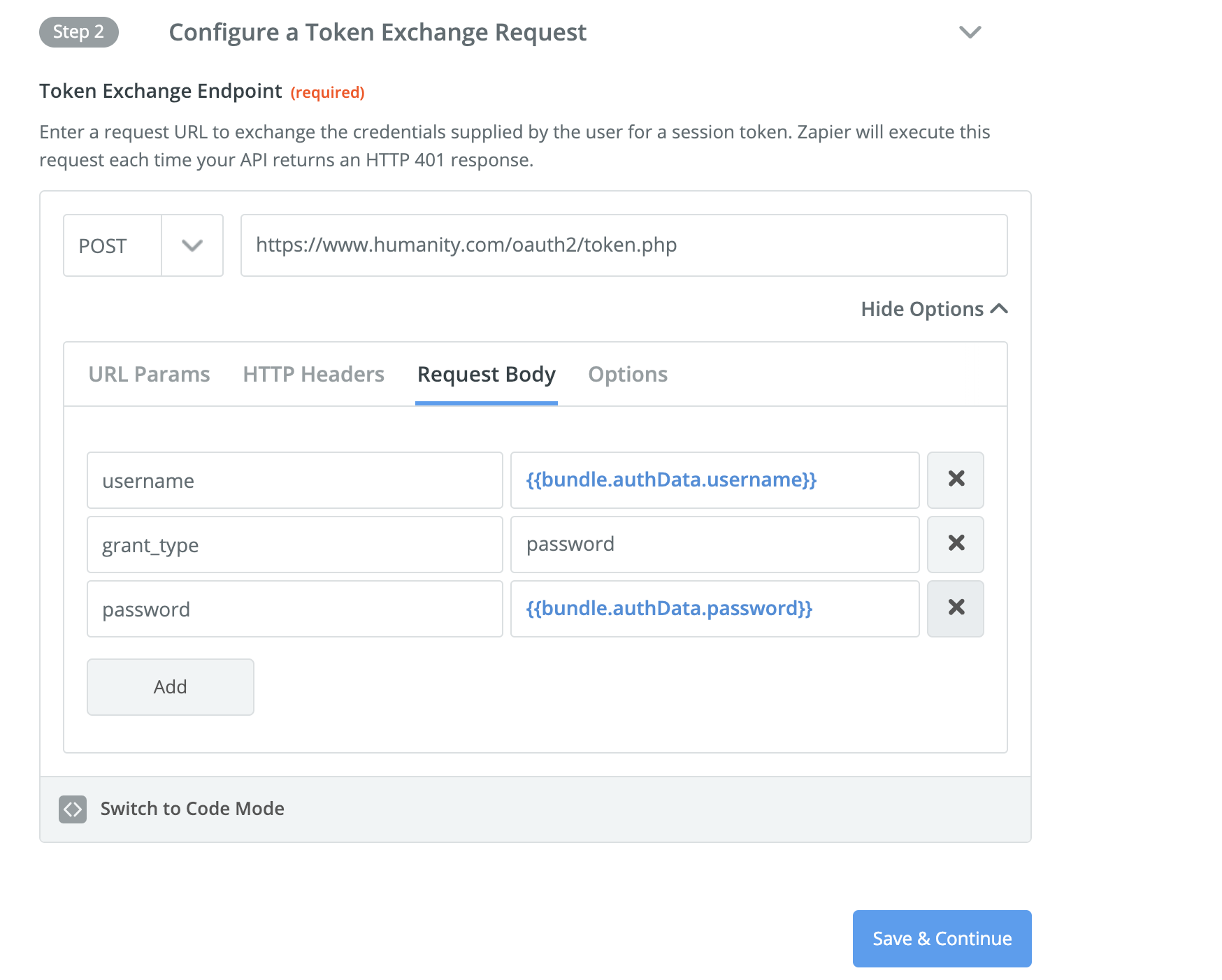 Zapier Session token exchange