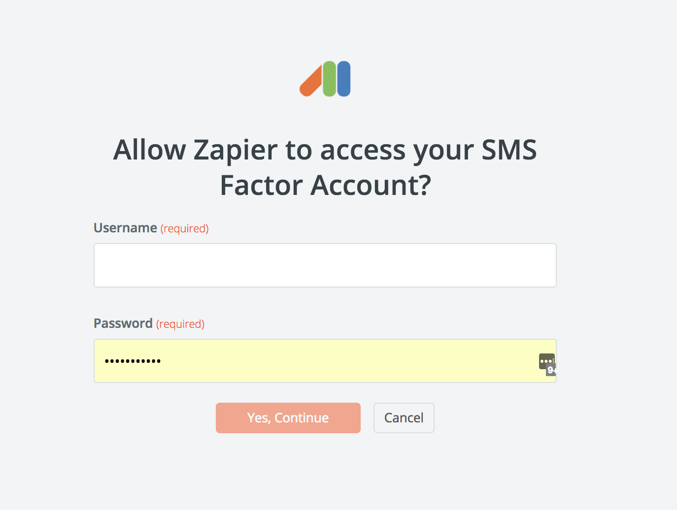 SMS Factor username and password