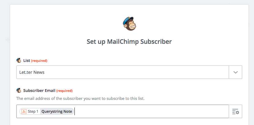 Add contact to MailChimp with Alfred