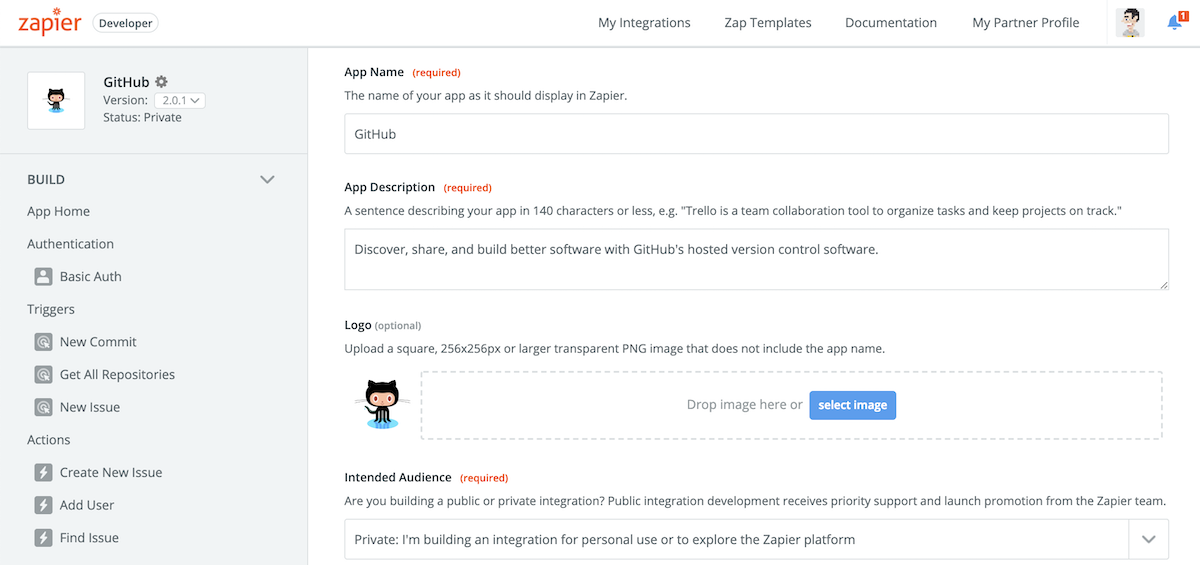 Edit Zapier integration info