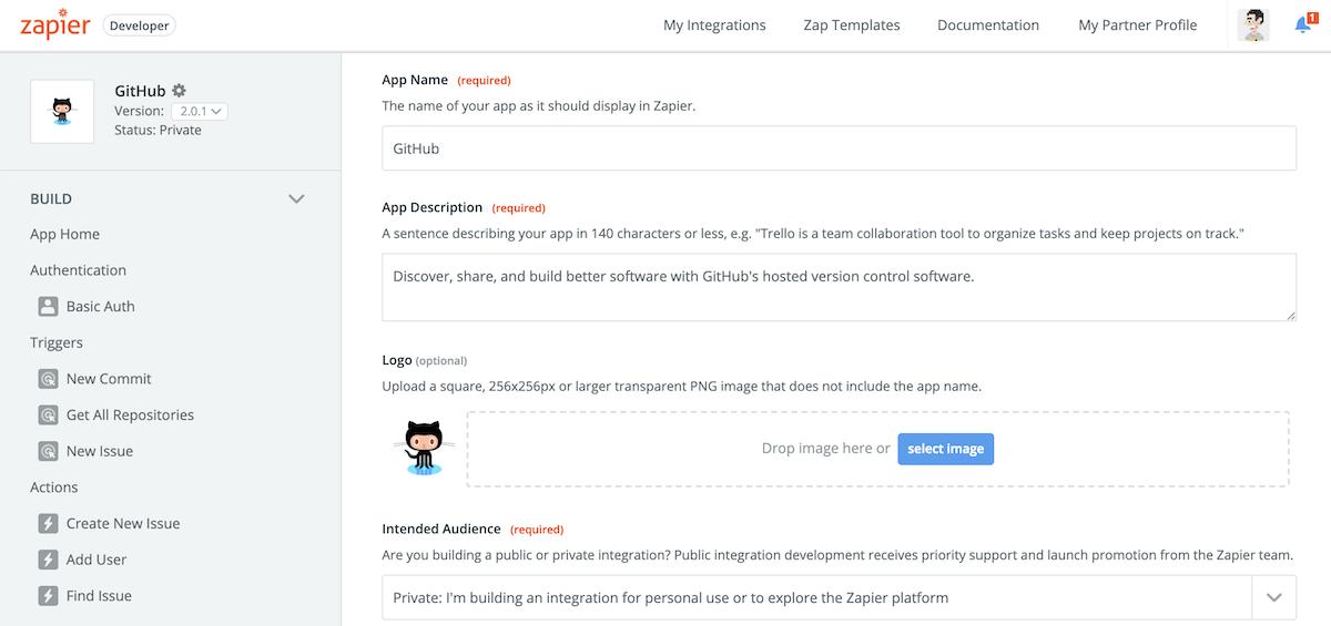 Edit Zapier integration info