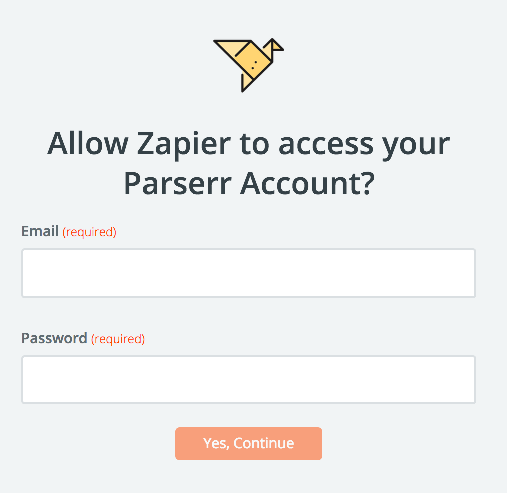 Parserr username and password
