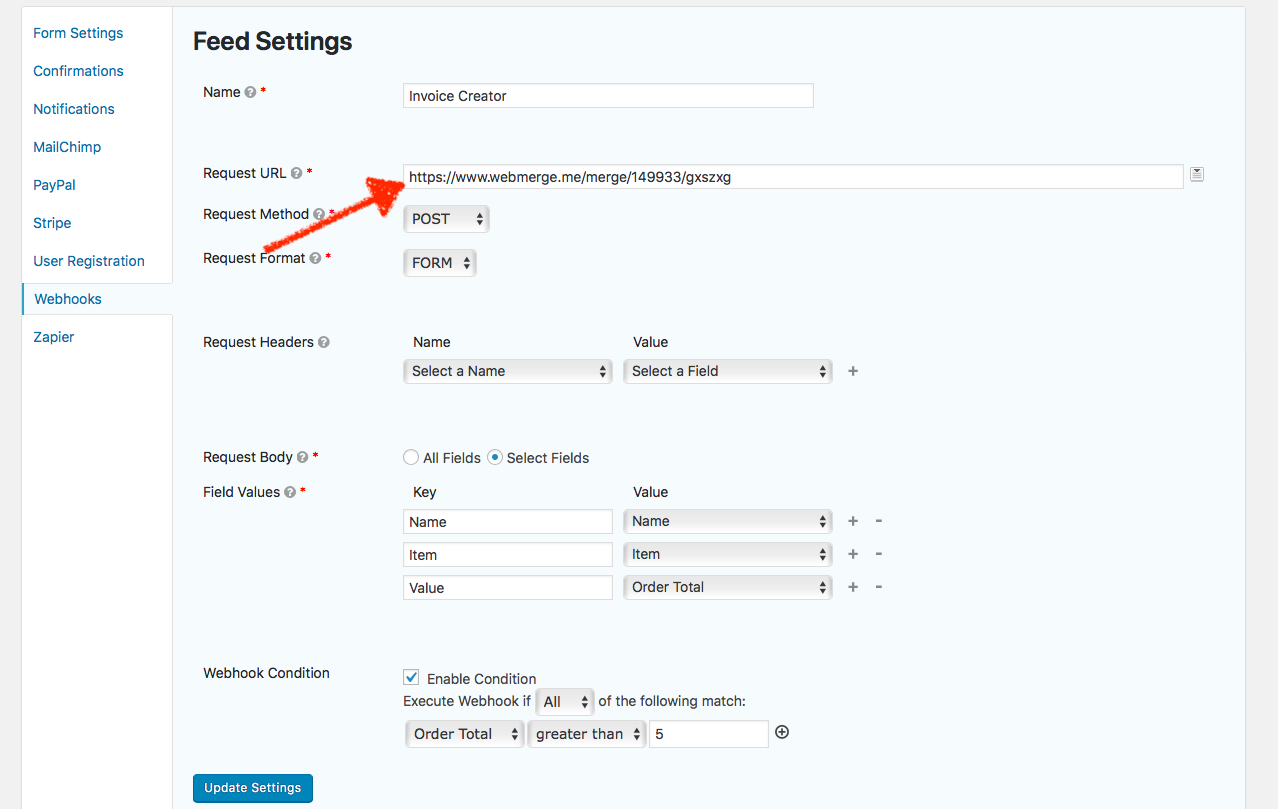 Add webhooks URL to Gravity Forms