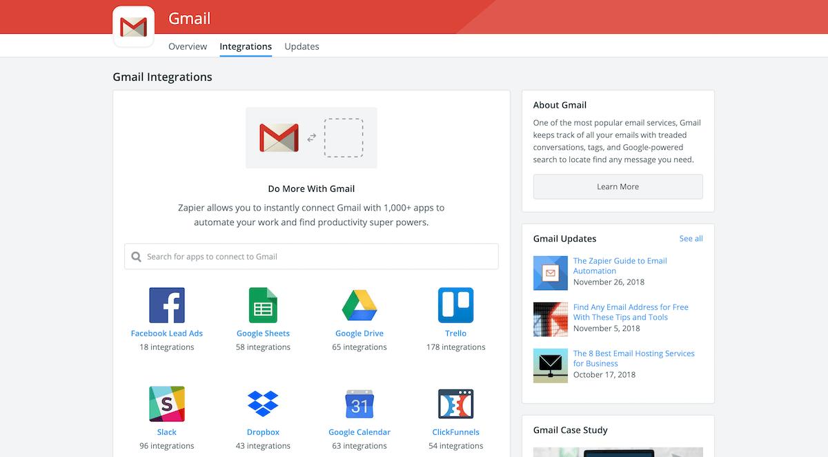 Zapier App Directory Page