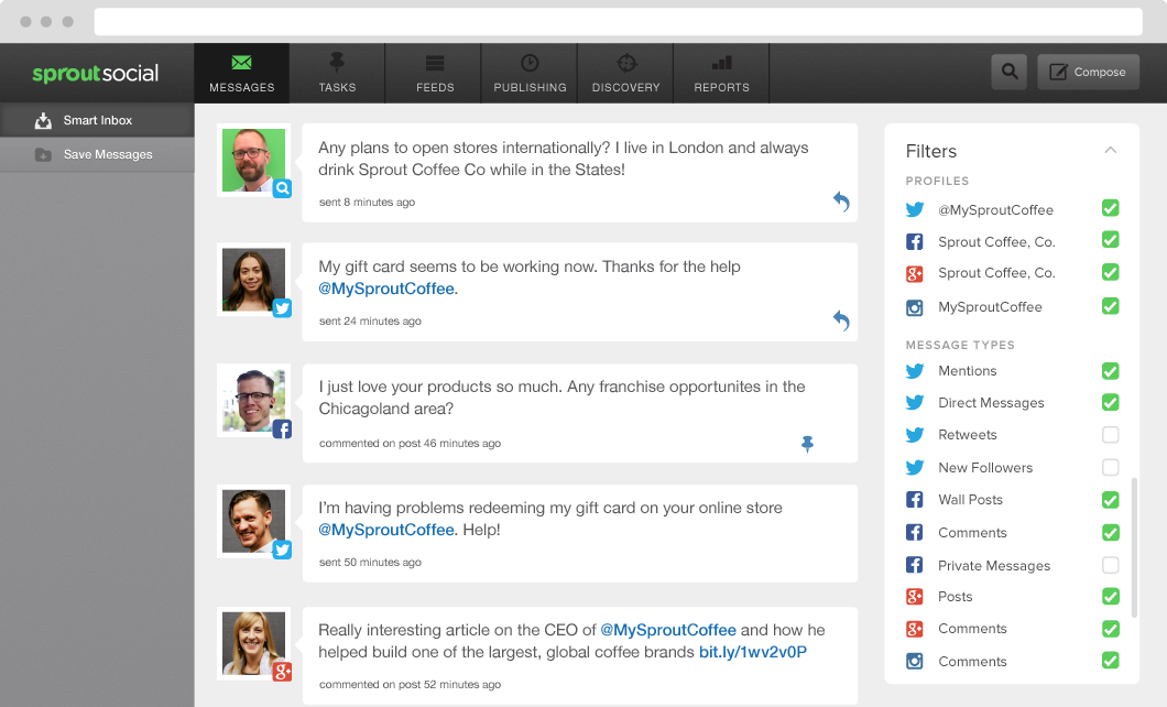 Let your sales and support teams interact with customers with Sprout Social