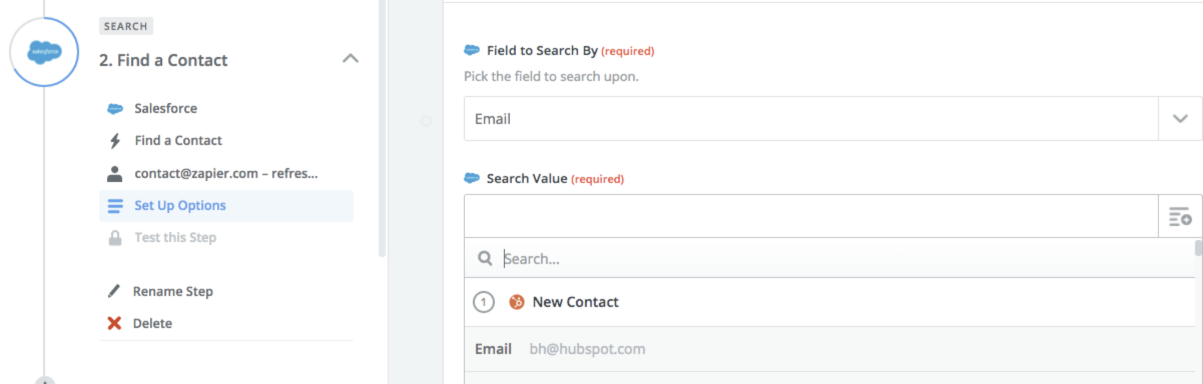 Salesforce Find a Contact step