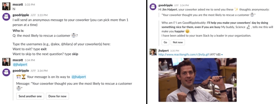 GoodRipple Slack app screenshot