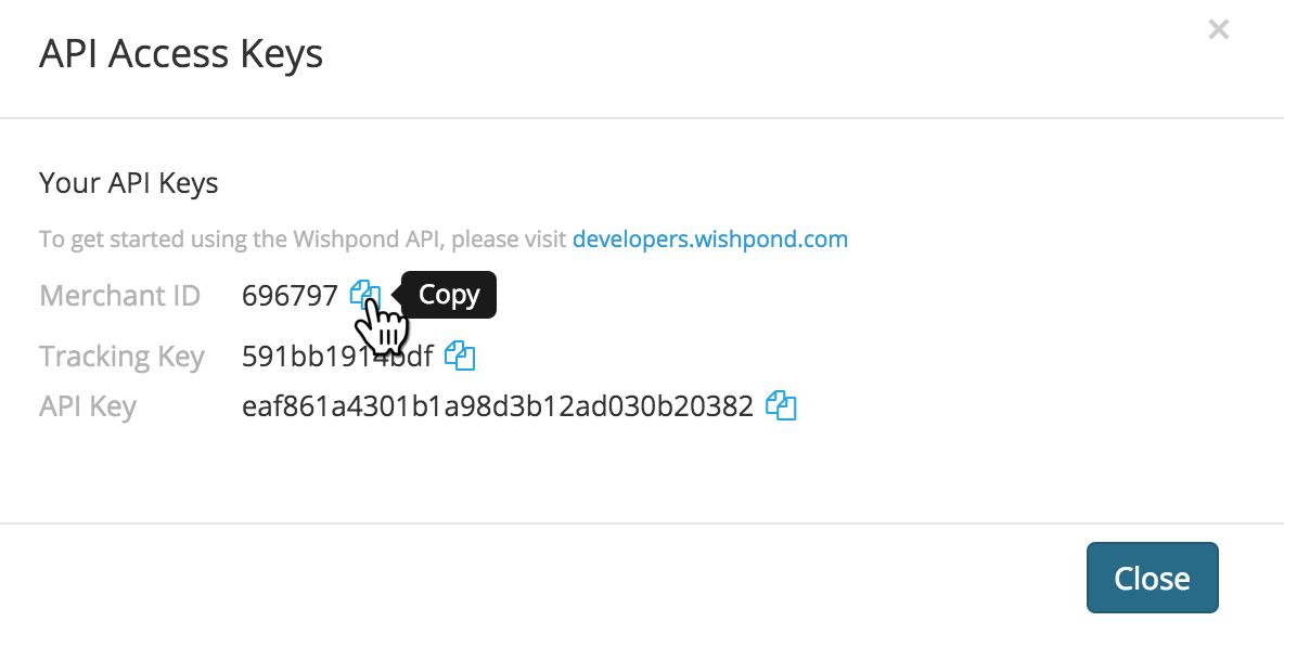 Wishpond API Keys  in APP account