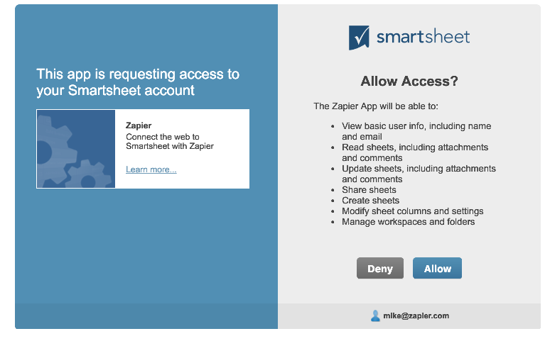 Authorize Smartsheet on Zapier