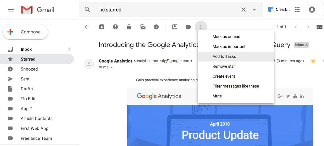 Add Gmail to Google Tasks