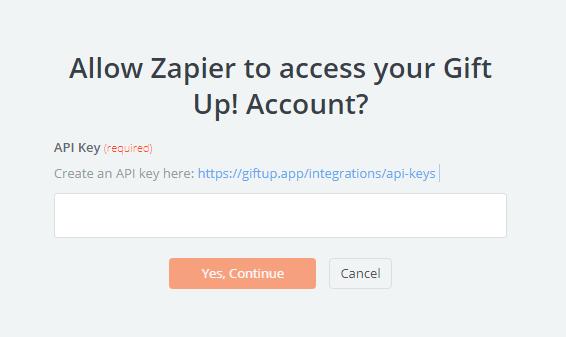 Gift Up! API Key
