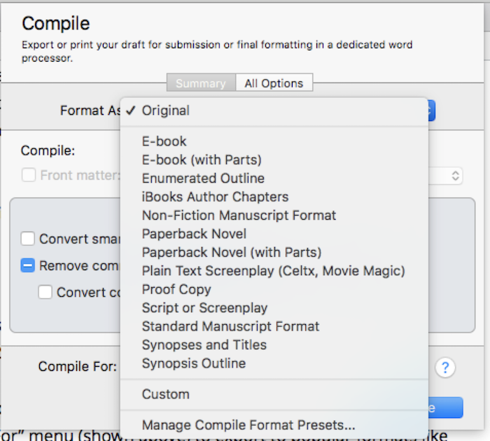 Scrivener Compile Feature