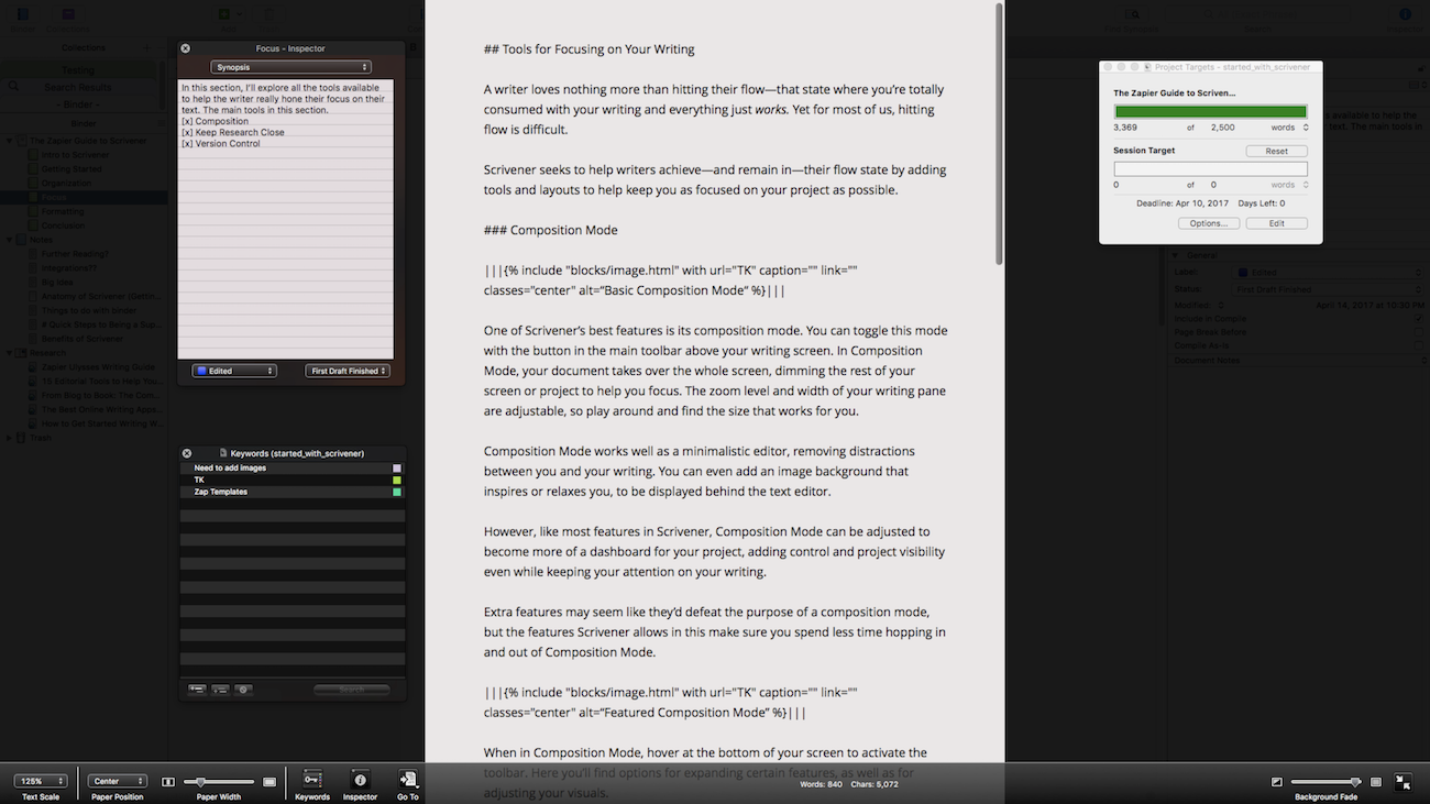 Scrivener full-screen mode