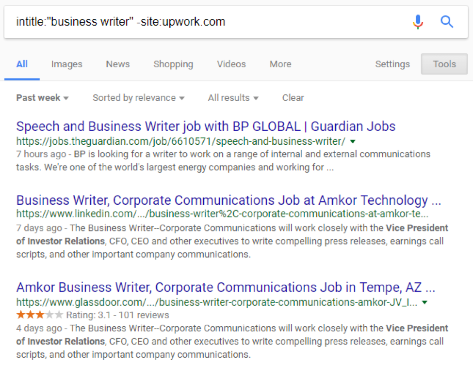 Google search for intitle:'business writer' -site:upwork.com