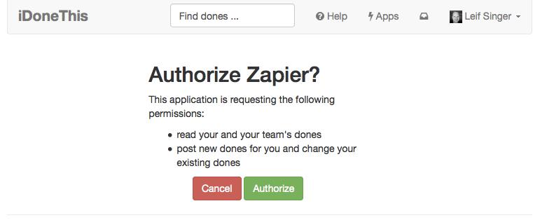 iDoneThis authorization screen