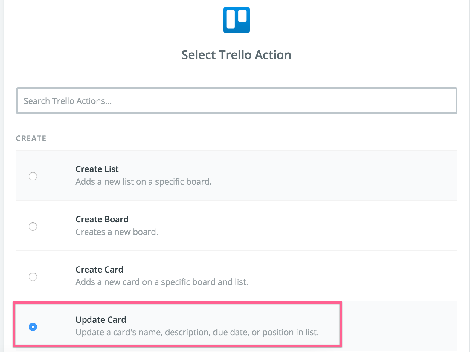 Trello Update Card selection Screenshot