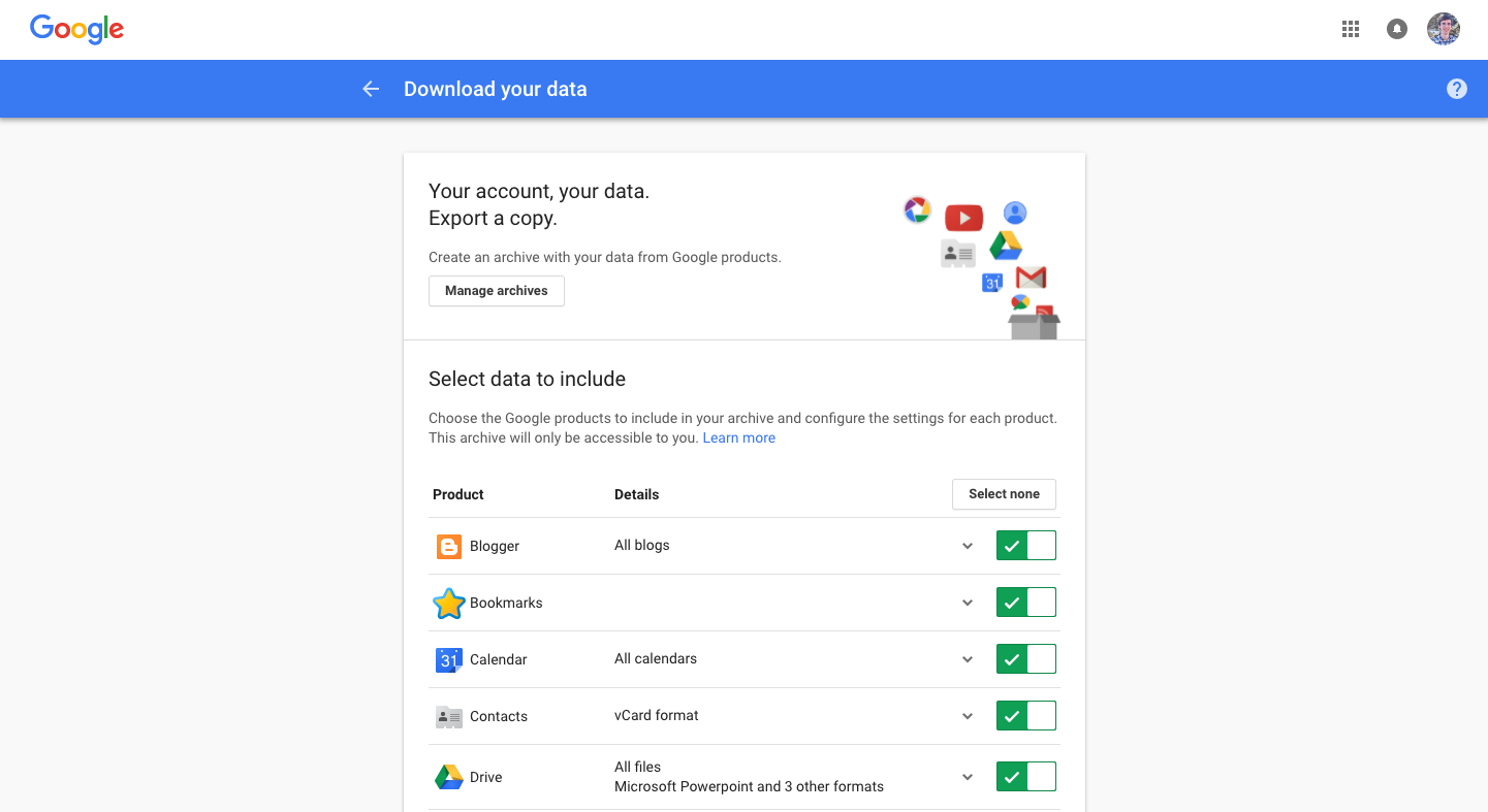Google Export