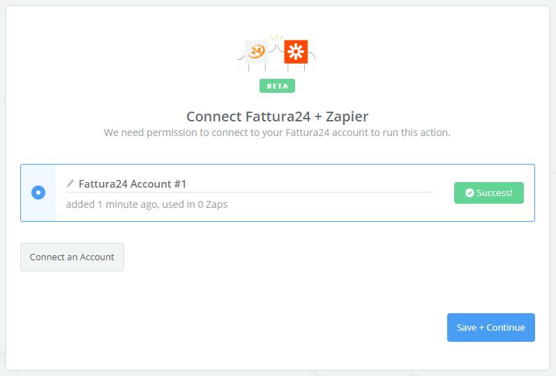 Fattura24 connection successful