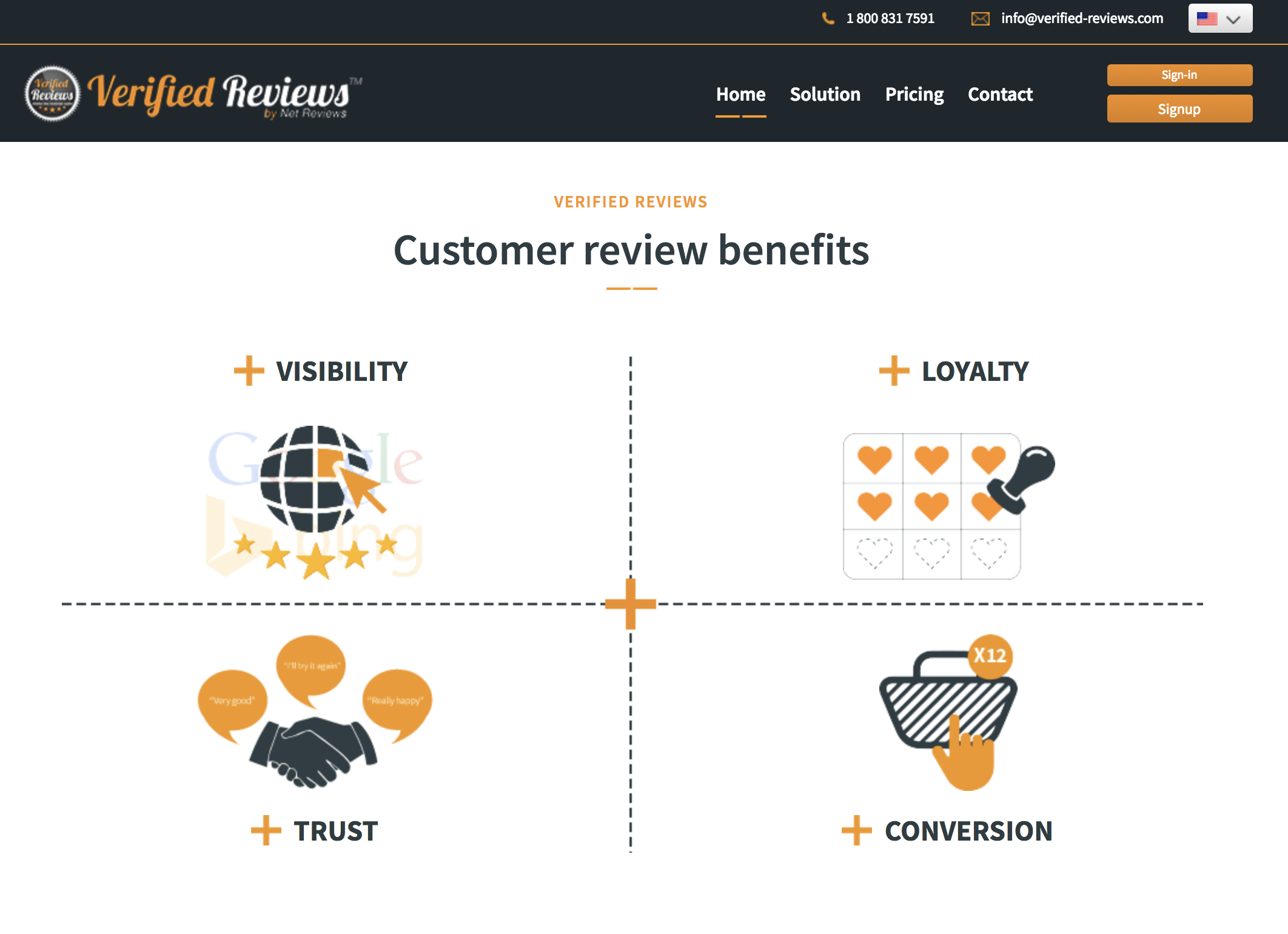 Verified Reviews home page