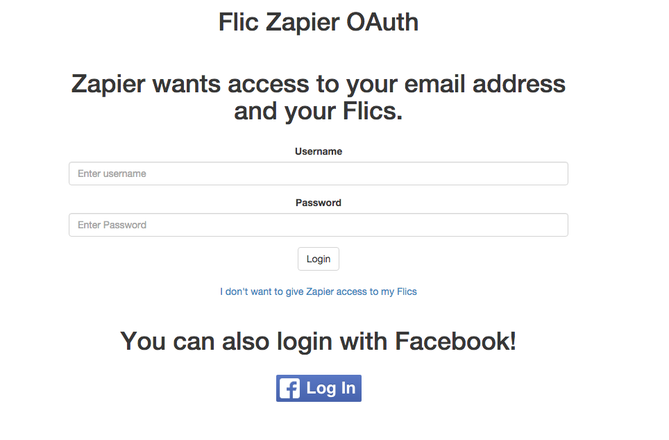 Authorize Flic on Zapier