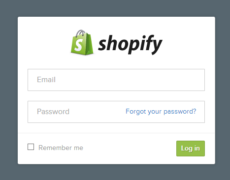 Log in to authorize your Shopify account