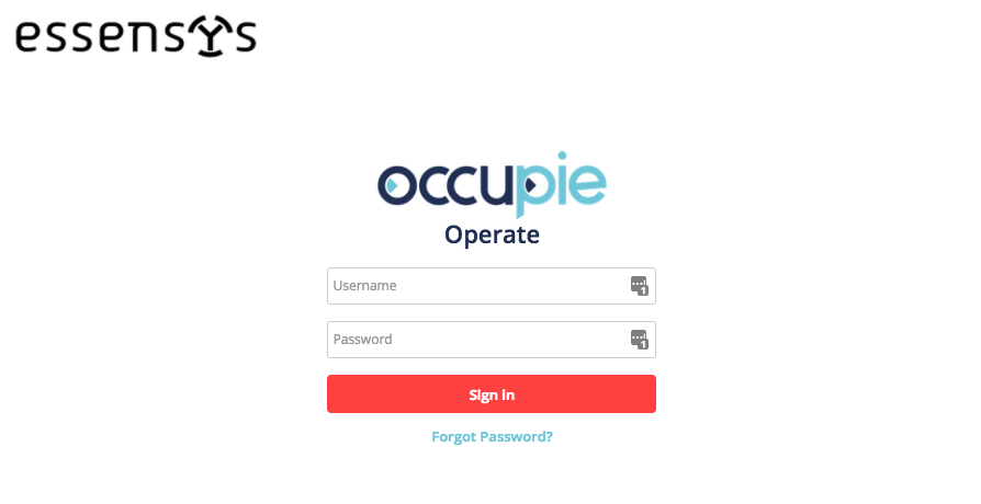 Essensys login page