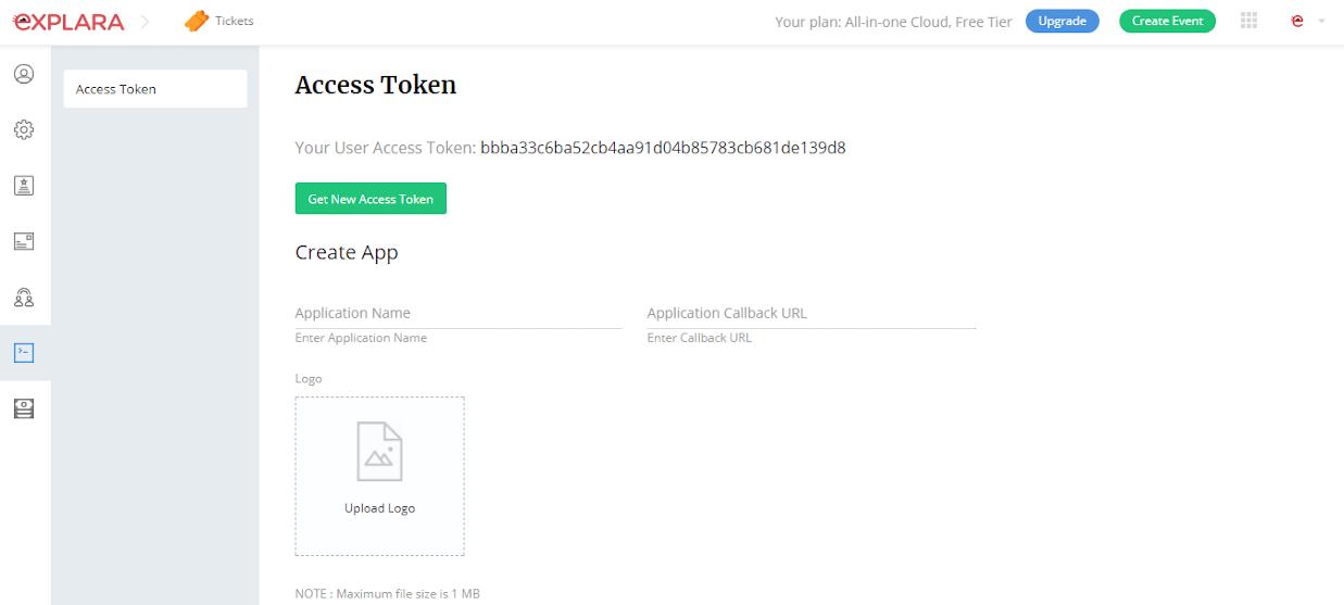 Explara API Key in account