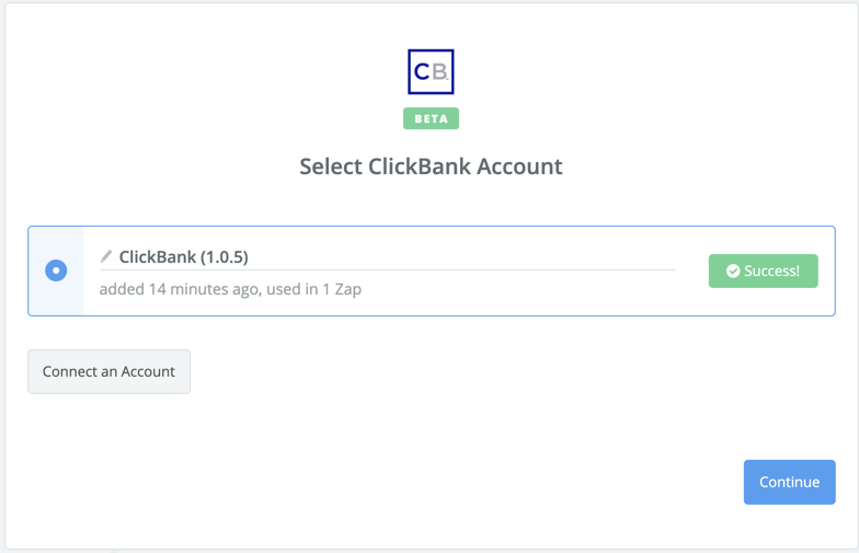 ClickBank connection successful