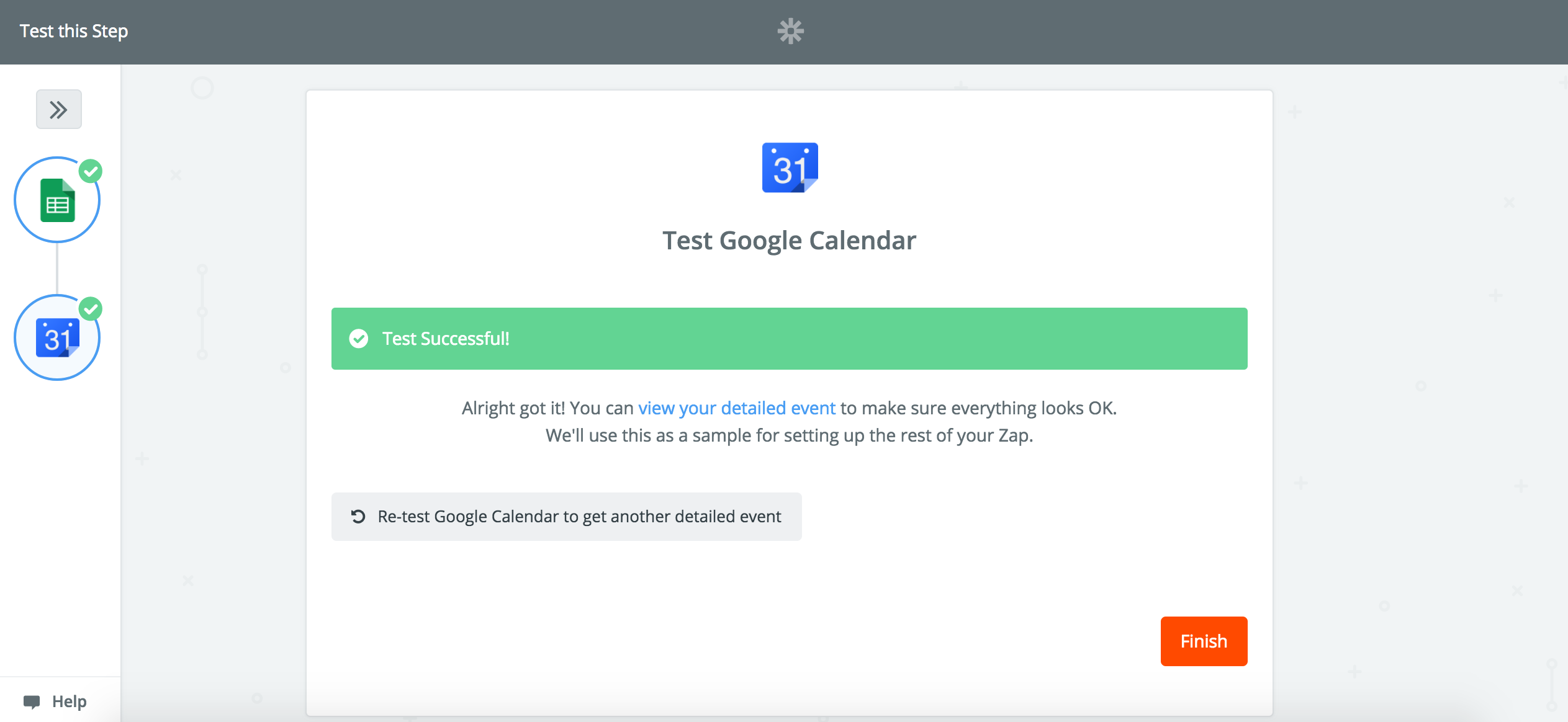 View your Google Calendar event