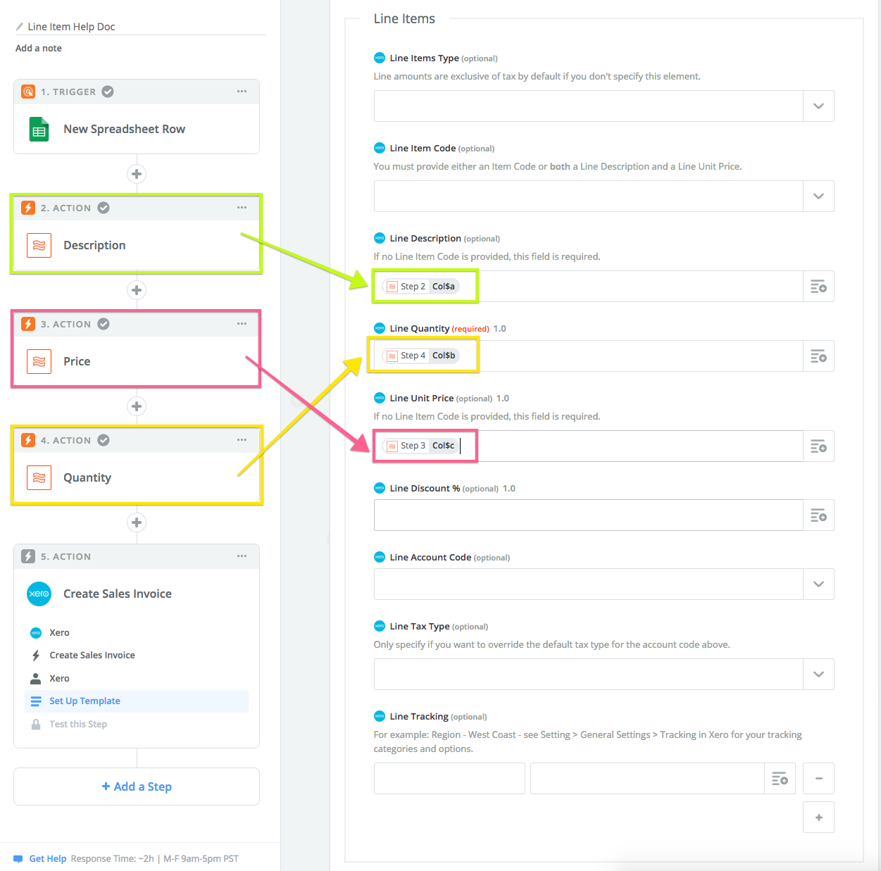 Xero step showing how the newly created line items come into play