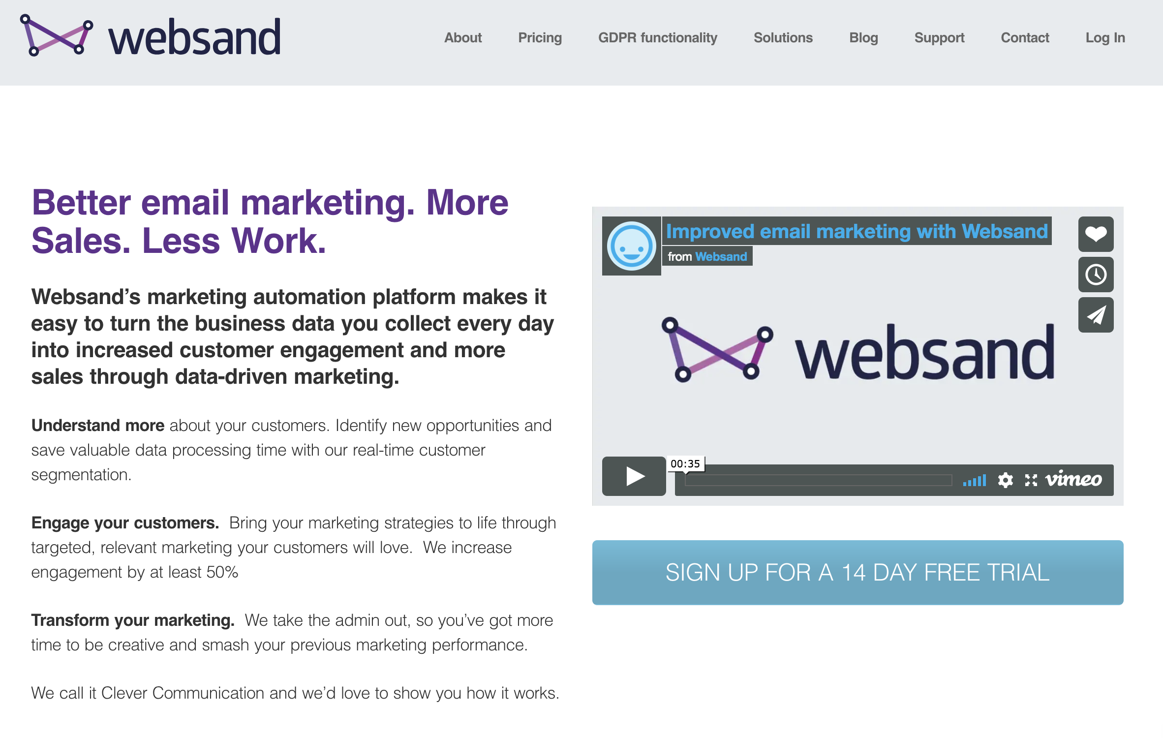 Websand home page
