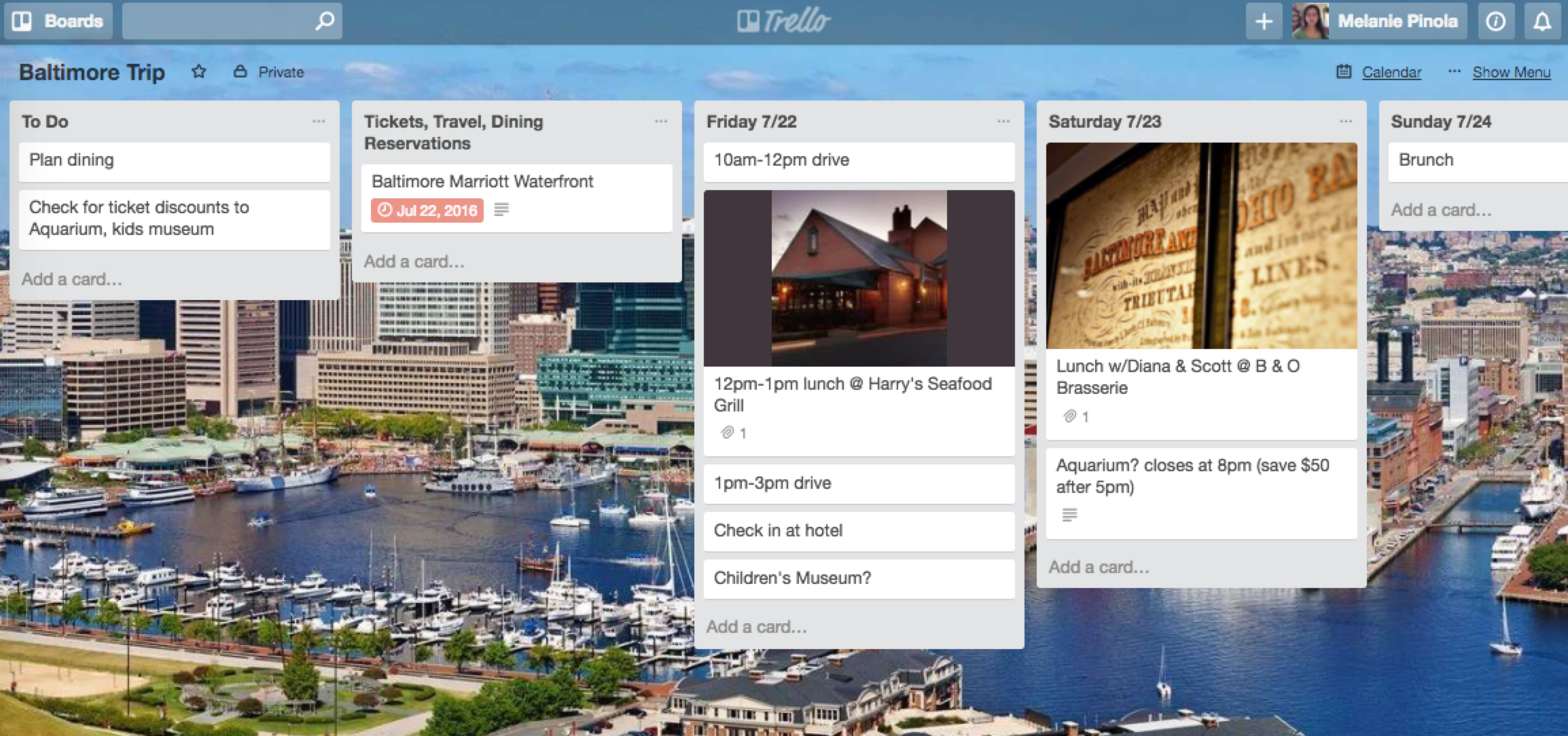 Trello vacation template