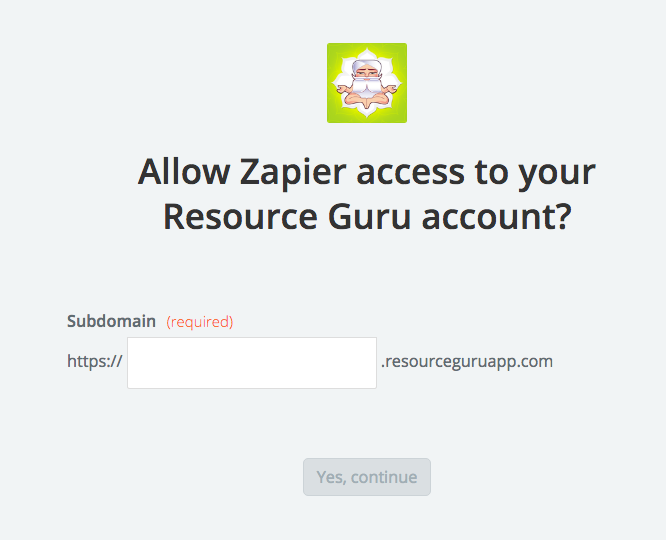 Enter Resource Guru subdomain