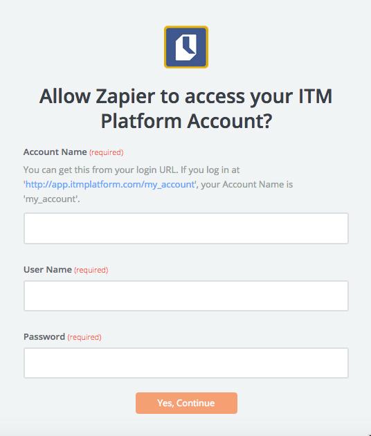 ITM Platform username and password