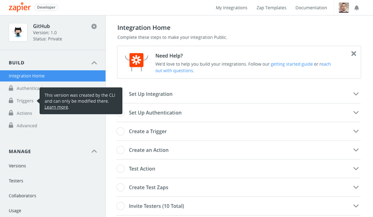 Zapier CLI integration in visual builder